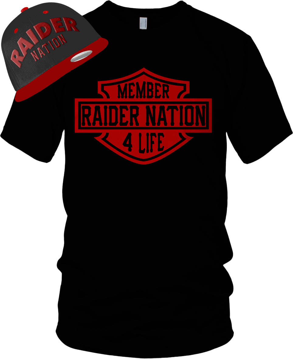 MEMBER RAIDER NATION 4 LIFE BLACK & RED T-SHIRT & HAT PLAYER PACK (LIMITED EDITION).