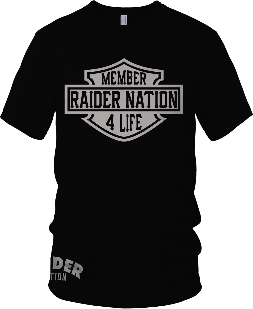 MEMBER RAIDER NATION 4 LIFE BLACK T-SHIRT (LIMITED EDITION) OAKLAND RAIDERS