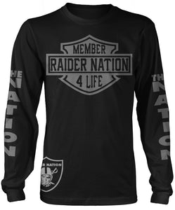 MEMBER RAIDER NATION LONG SLEEVE BLACK T-SHIRT (LIMITED EDITION) OAKLAND RAIDERS EDITION