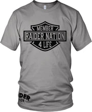 MEMBER RAIDER NATION 4 LIFE GREY T-SHIRT (LIMITED EDITION) OAKLAND RAIDERS