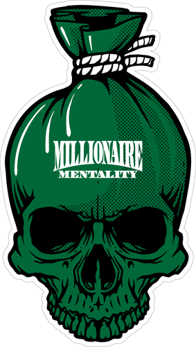 MILLIONAIRE MENTALITY GREEN MONEY BAG LAMINATED STICKER