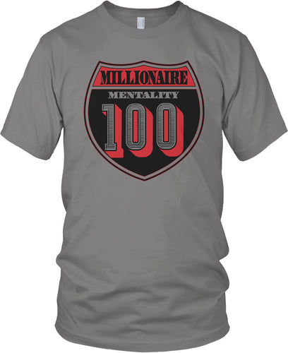 MILLIONAIRE MENTALITY 100 INTERSTATE GREY T-SHIRT (LIMITED EDITION)