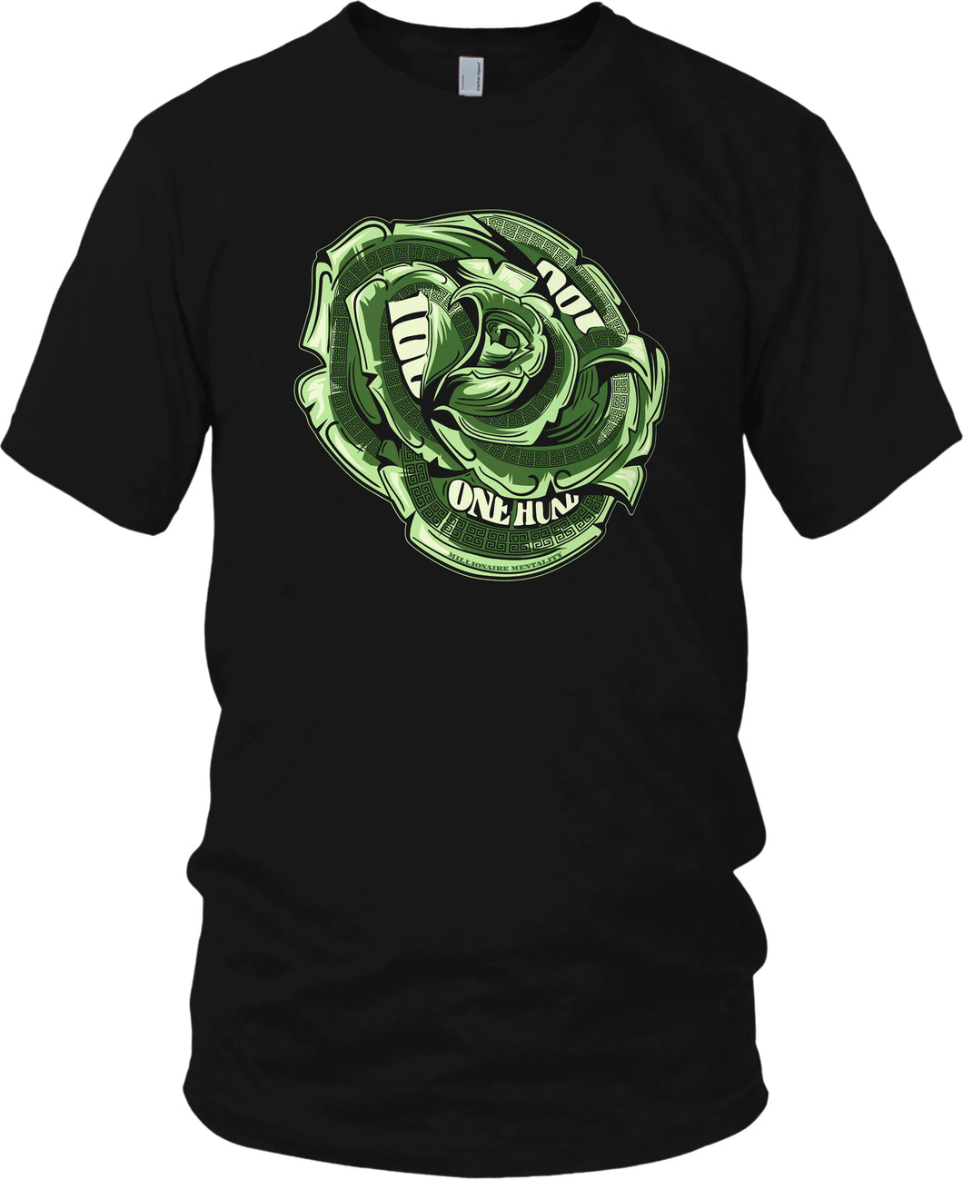 MILLIONAIRE MENTALITY GREEN MONEY ROSE BLACK T-SHIRT (LIMITED EDITION)