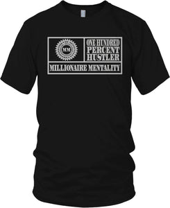 MILLIONAIRE MENTALITY BLACK & METALLIC SILVER T-SHIRT (LIMITED EDITION) MOTION PICTURE EDITION