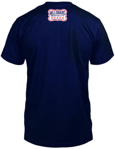 MILLIONAIRE MENTALITY 100% HUSTLER NAVY T-SHIRT (LIMITED EDITION)