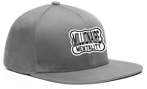 MILLIONAIRE MENTALITY SNAP GREY, BLACK & WHITE BASEBALL HAT