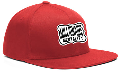 MILLIONAIRE MENTALITY SNAP BACK RED, BLACK & WHITE BASEBALL HAT