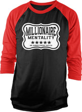 MILLIONAIRE MENTALITY RED & BLACK RAGLAN T-SHIRT (LIMITED EDITION)