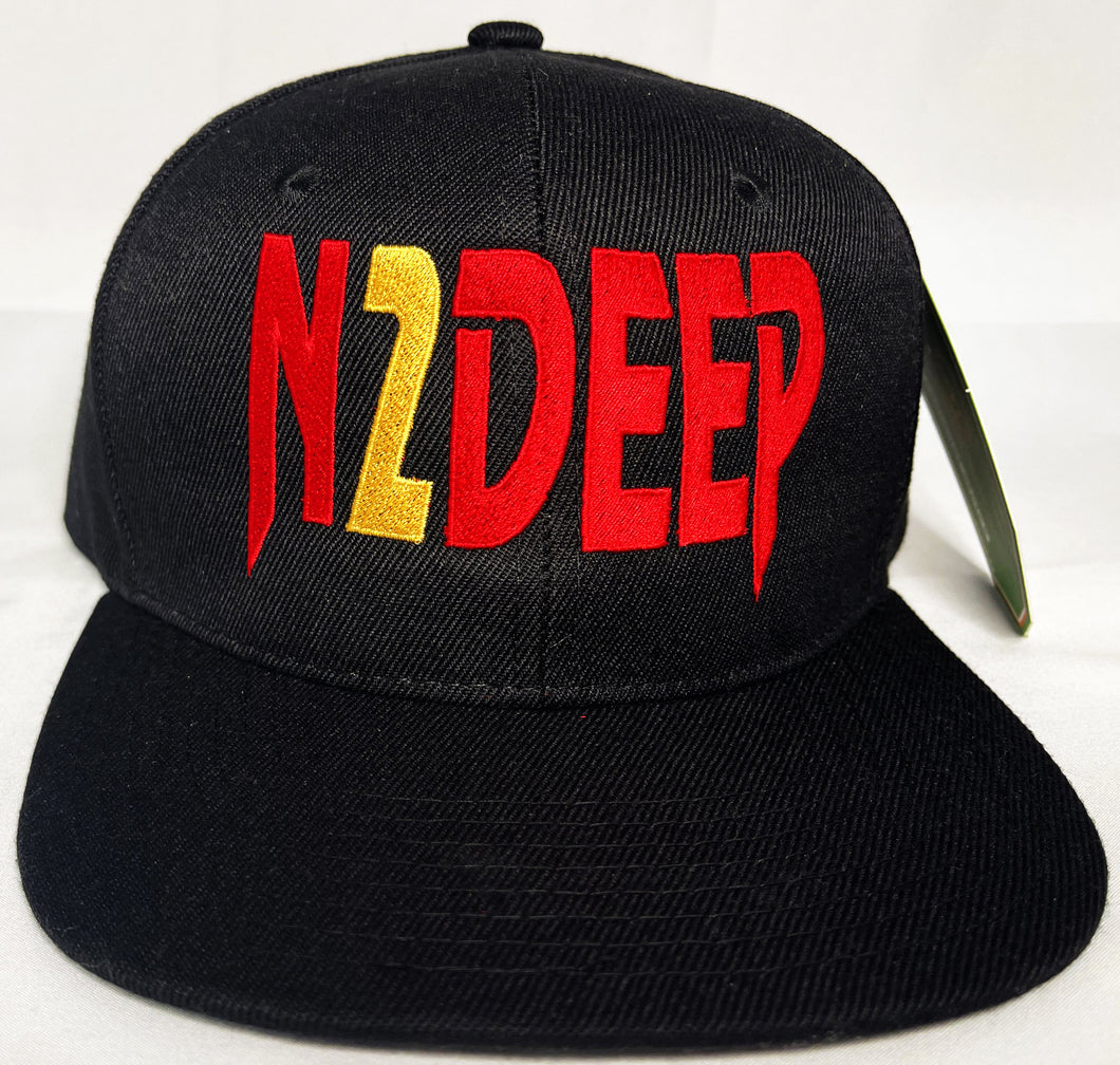 N2DEEP BLACK, RED & GOLD SNAP BACK BLACK BASEBALL HAT (OG EDITION)