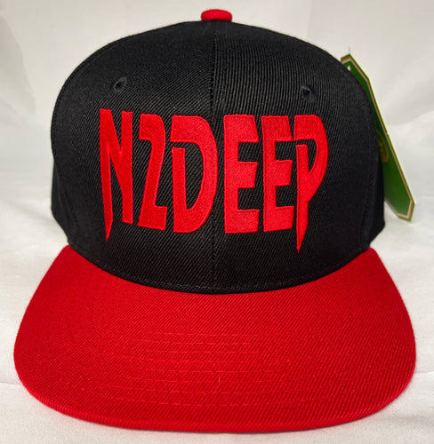 N2DEEP BLACK & RED SNAPBACK BLACK BASEBALL HAT