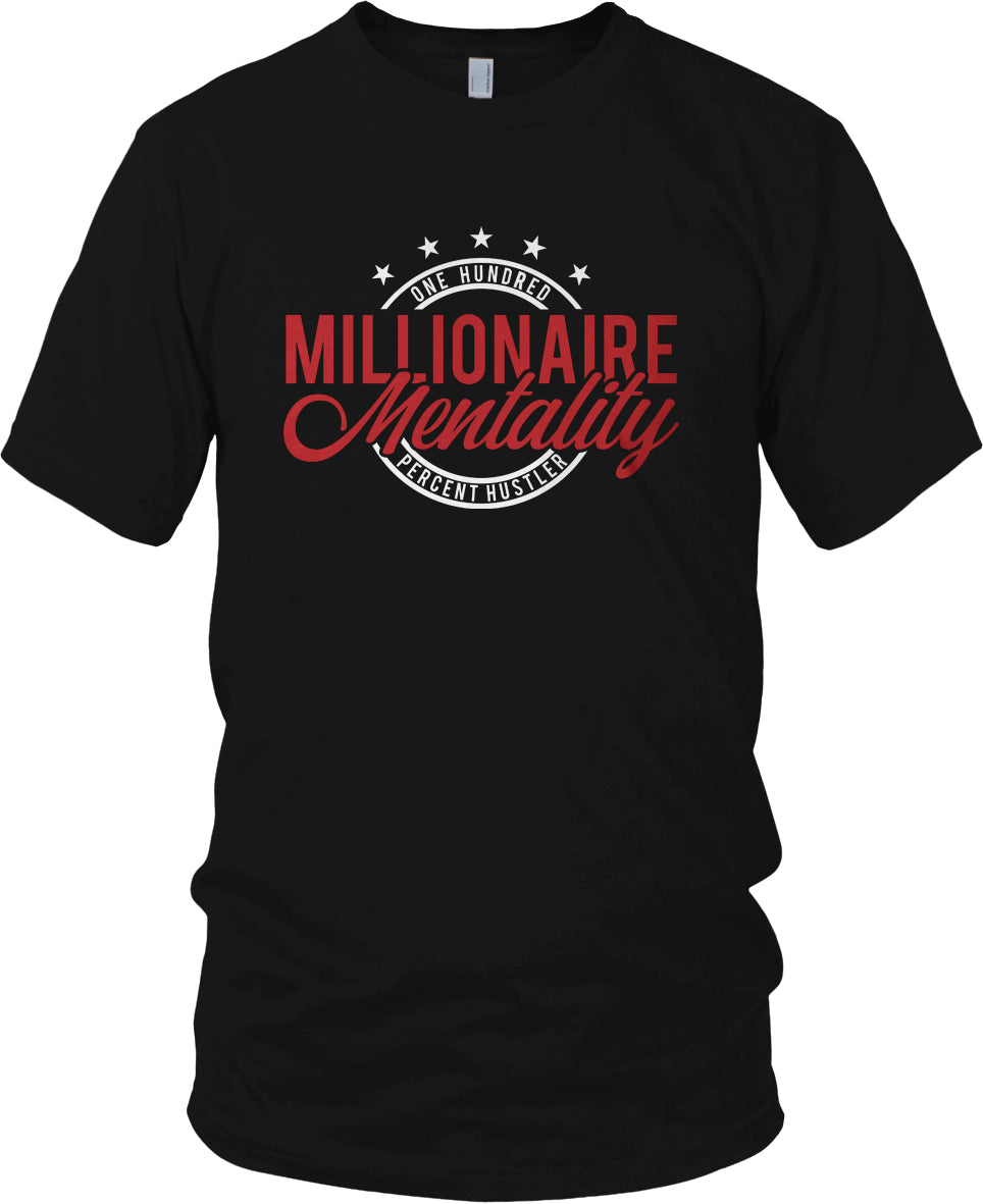 MILLIONAIRE MENTALITY ONE HUNDRED PERCENT HUSTLER BLACK, WHITE RED T-SHIRT (LIMITED EDITION)