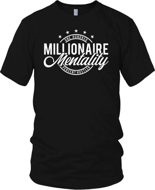 MILLIONAIRE MENTALITY ONE HUNDRED PERCENT HUSTLER BLACK T-SHIRT (LIMITED EDITION)