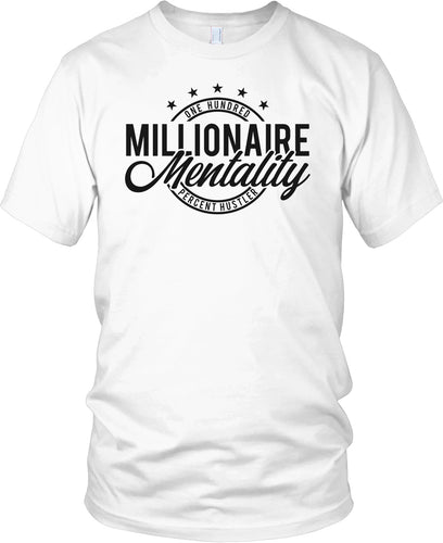 MILLIONAIRE MENTALITY ONE HUNDRED PERCENT HUSTLER WHITE T-SHIRT (LIMITED EDITION)