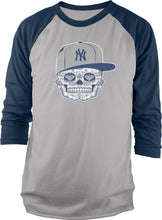 NEW YORK YANKEES CANDY SKULL NAVY RAGLAN T-SHIRT (LIMITED EDITION)