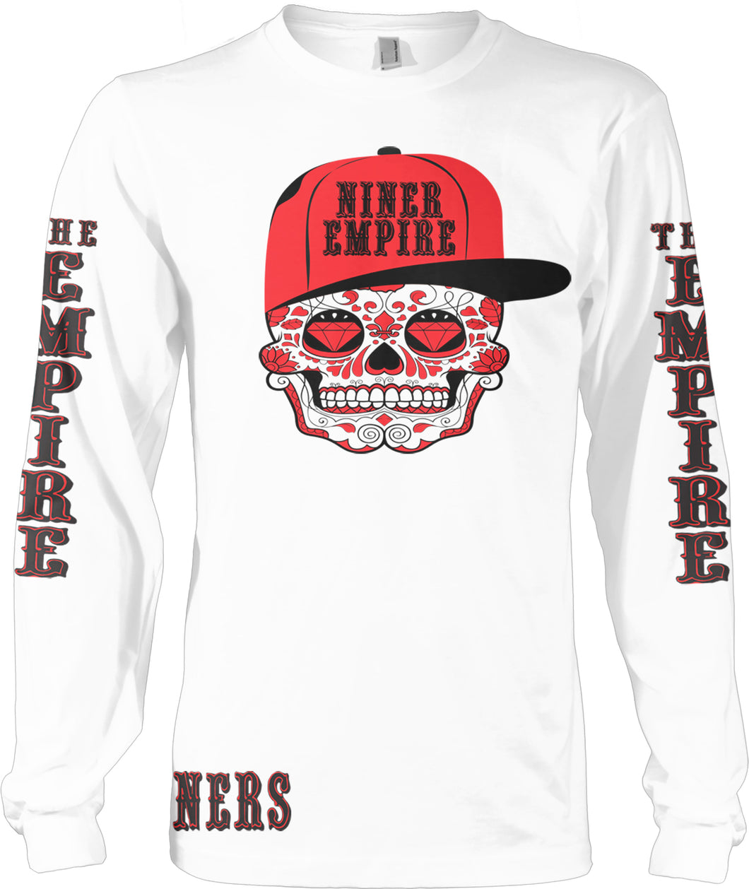 NINER EMPIRE CANDY SKULL LONG SLEEVE RED & BLACK LONG SLEEVE T-SHIRT (LIMITED EDITION) SAN FRANCISCO 49ERS EDITION