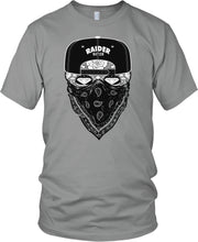 RAIDER NATION CANDY SKULL GANGSTER GREY T-SHIRT (LIMITED EDITION) RAIDERS