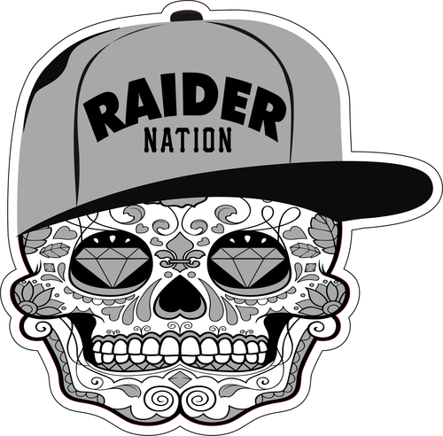 RAIDER NATION SILVER, BLACK & WHITE LAMINATED STICKER (RAIDER NATION EDITION)
