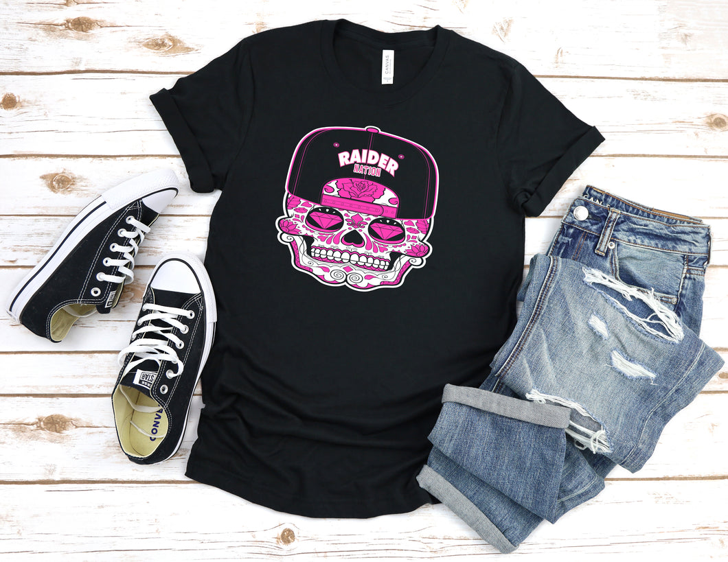 WOMENS RAIDER NATION SUGAR CANDY SKULL BLACK T-SHIRT (LIMITED EDITION) OAKLAND RAIDERS EDITION