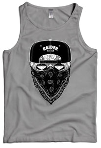RAIDER NATION CANDY SKULL GANGSTER GREY TANK TOP (New) RAIDER NATION EDITION