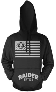 RAIDER NATION FLAG BLACK & SILVER HOODIE (LIMITED EDITION) OAKLAND RAIDERS EDITION