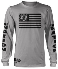 RAIDER NATION SKULL FLAG LONG SLEEVE GREY T-SHIRT (LIMITED EDITION) OAKLAND RAIDERS EDITION