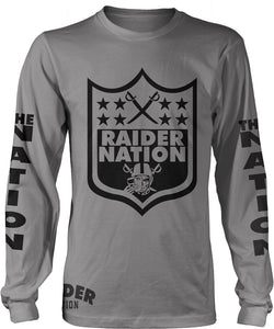 RAIDER NATION SKULL LONG SLEEVE GREY T-SHIRT (LIMITED EDITION) OAKLAND RAIDERS