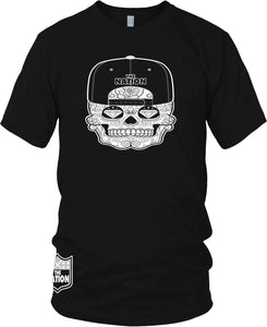 THE NATION CANDY SKULL BLACK T-SHIRT (LIMITED EDITION) RAIDER NATION EDITION