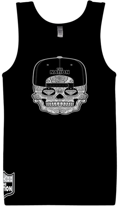 THE NATION CANDY SKULL BLACK TANK TOP (LIMITED EDITION) RAIDER NATION EDITION