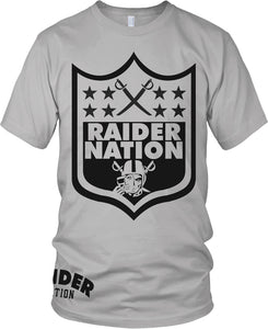 RAIDER NATION SKULL GREY T-SHIRT (LIMITED EDITION) OAKLAND RAIDERS