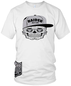 RAIDER NATION SUGAR CANDY SKULL WHITE T-SHIRT (LIMITED EDITION) OAKLAND RAIDERS EDITION