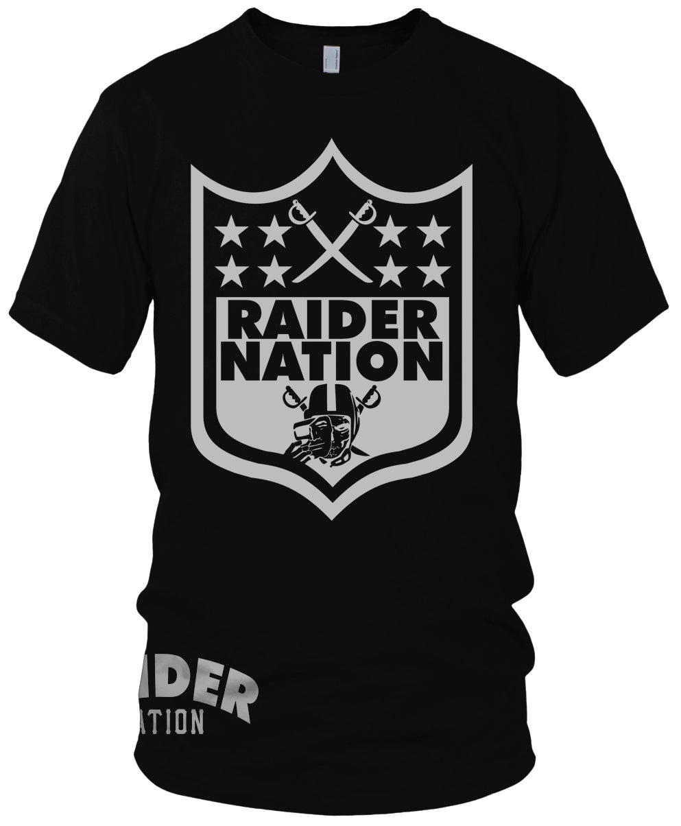 RAIDER NATION NFL SKULL BLACK T-SHIRT (LIMITED EDITION) OAKLAND RAIDERS