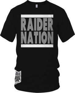RAIDER NATION BLACK GREY & WHITE T-SHIRT (LIMITED EDITION) OAKLAND RAIDERS AL EDITION