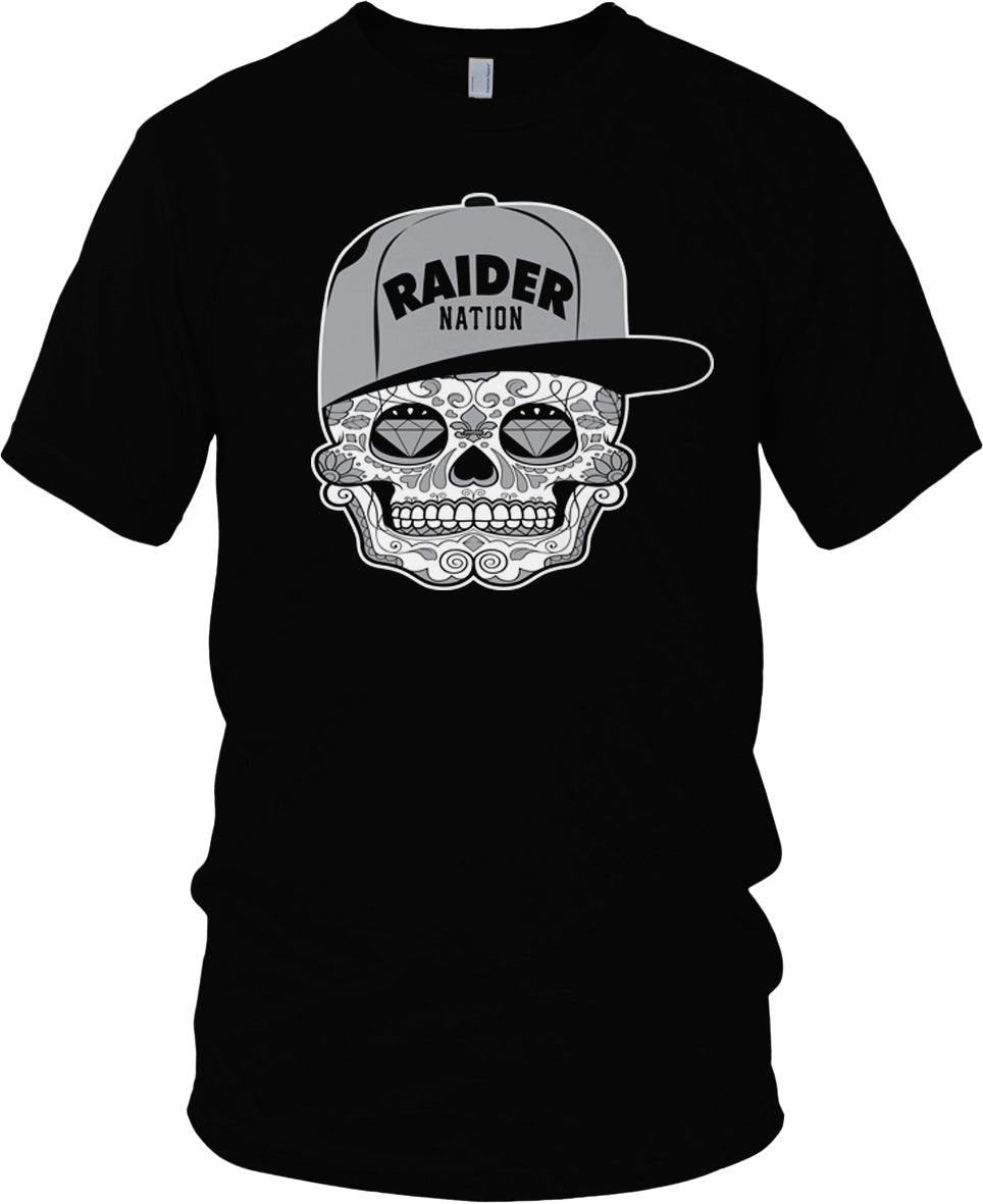 RAIDER NATION SUGAR CANDY SKULL BLACK T-SHIRT (LIMITED EDITION) OAKLAND RAIDERS EDITION