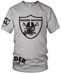 RAIDER NATION SKULL GREY T-SHIRT (LIMITED EDITION) OAKLAND RAIDERS AL EDITION