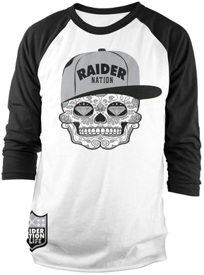 RAIDER NATION CANDY SKULL BLACK & WHITE RAGLAN T-SHIRT (LIMITED EDITION) OAKLAND RAIDERS