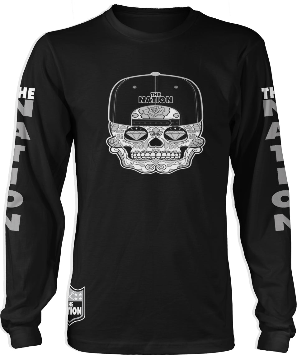 THE NATION CANDY SKULL LONG SLEEVE BLACK T-SHIRT (LIMITED EDITION) OAKLAND RAIDERS EDITION