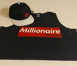 MILLIONAIRE MENTALITY CLOTHING CO. TANK TOP & SNAPBACK PLAYER PACK (LIMITED EDITION) BLACK, RED, & WHITE
