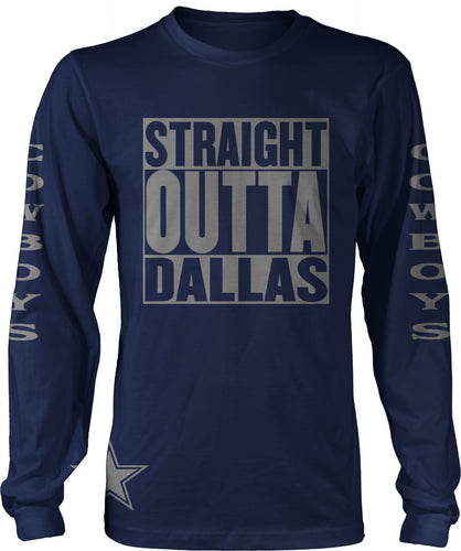 STRAIGHT OUTTA  DALLAS LONG SLEEVE NAVY BLUE T-SHIRT (LIMITED EDITION)