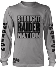 STRAIGHT RAIDER NATION LONG SLEEVE GREY T-SHIRT (LIMITED EDITION) OAKLAND RAIDERS EDITION
