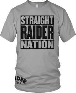 STRAIGHT RAIDER NATION GREY T-SHIRT (LIMITED EDITION) OAKLAND RAIDERS