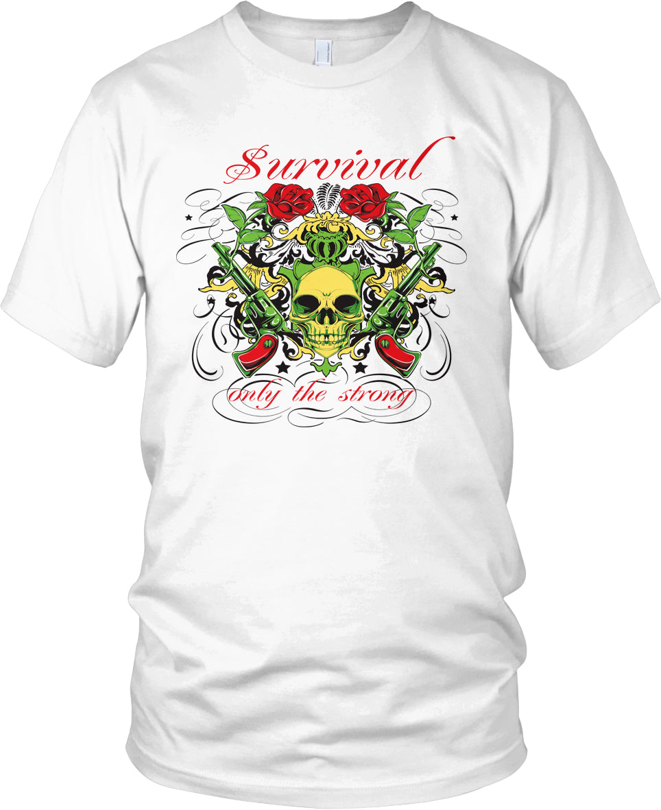 SURVIVAL - ONLY THE STRONG WHITE T-SHIRT (LIMITED EDITION)