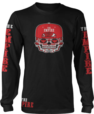 NINER EMPIRE CANDY SKULL LONG SLEEVE BLACK, RED & WHITE LONG SLEEVE T-SHIRT (LIMITED EDITION) SAN FRANCISCO 49ERS EDITION