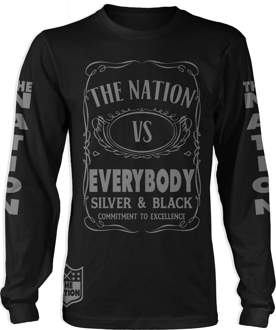 THE NATION VS EVERYBODY BLACK LONG SLEEVE T-SHIRT (LIMITED EDITION)OAKLAND RAIDER EDITION