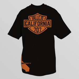 VALLEJO CALIFORNIA  707 BLACK T-SHIRT & HAT PLAYER PACK (LIMITED EDITION) HD ORANGE EDITION