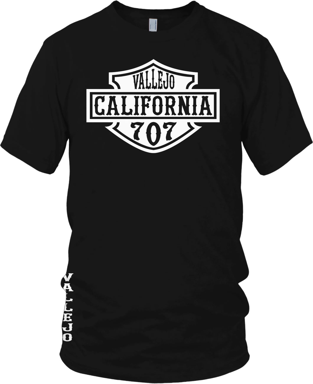 VALLEJO CALIFORNIA 707 HD BLACK T-SHIRT (LIMITED EDITION)