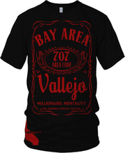 VALLEJO 707 BAY AREA CALIFORNIA BLACK & RED T-SHIRT (LIMITED EDITION)
