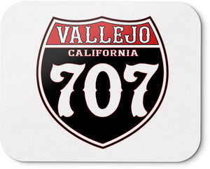 VALLEJO, CALIFORNIA 707 MOUSEPAD (NEW) RED, WHITE & BLACK