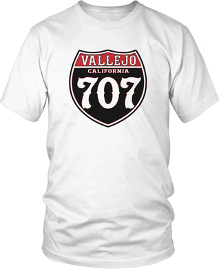 VALLEJO CALIFORNIA 707 HIGHWAY WHITE T-SHIRT (LIMITED EDITION)