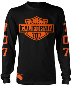 VALLEJO CALIFORNIA 707 HD LONG SLEEVE BLACK & ORANGE T-SHIRT (LIMITED EDITION)