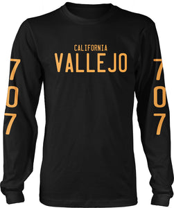 VALLEJO CALIFORNIA 707 LICENSE PLATE LONG SLEEVE BLACK & GOLD T-SHIRT (LIMITED EDITION)